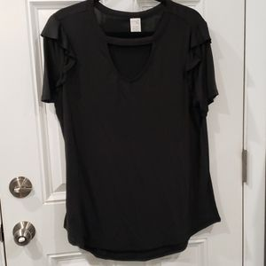 Black cut out tee